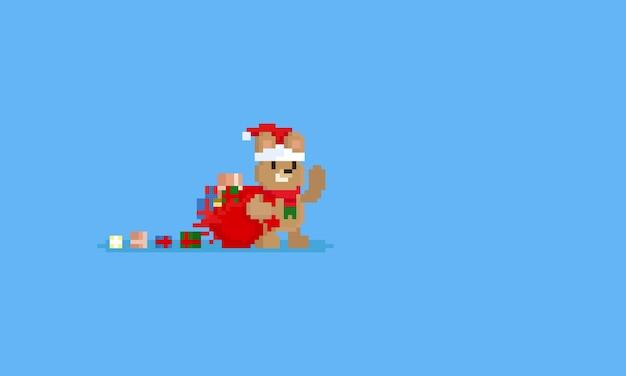 Glücklicher bär des pixels mit geschenktasche
