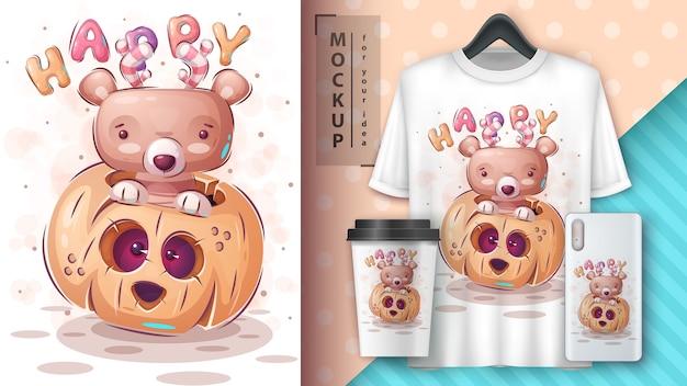 Glücklicher bär - plakat und merchandising