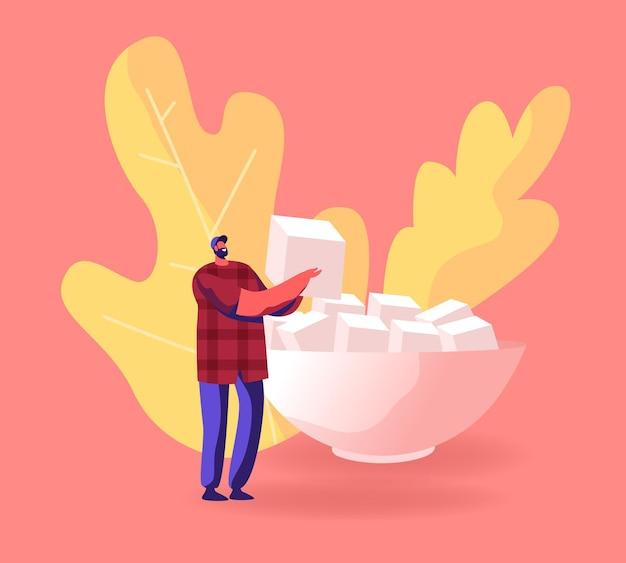Glücklicher bärtiger männlicher charakter, der in den händen hält riesiger würfel raffinierter zucker bereiten sie sich für tee- oder kaffeeparty vor. karikatur flache illustration