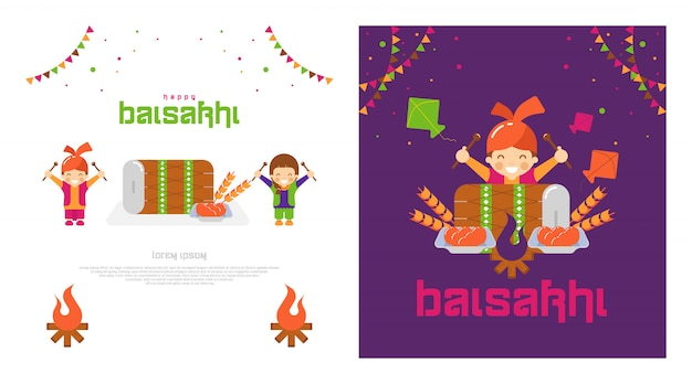 Glücklicher baisakhi-kartensatz