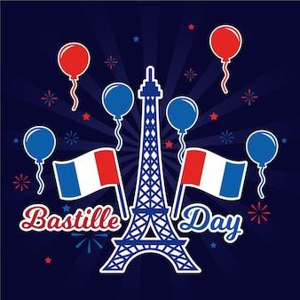 Glücklicher bastille-tag eiffelturm und luftballons