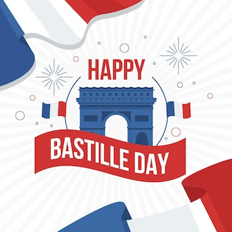 Glücklicher bastille-tag mit arc de triomphe