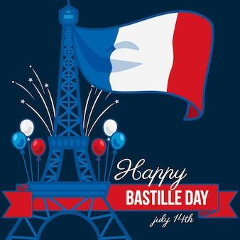 Glücklicher bastille-tag mit flagge und eiffelturm