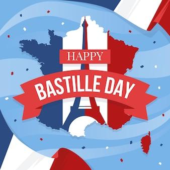 Glücklicher bastille-tag mit karte und flagge