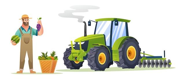 Glücklicher bauer mit frischen früchten und traktorillustration