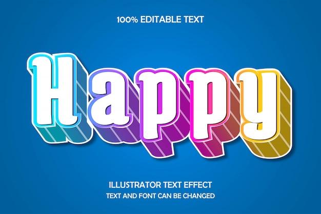Glücklicher, bearbeitbarer 3d-texteffekt im modernen stil