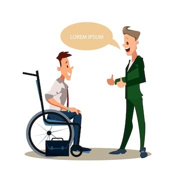 Glücklicher behinderter mann-daumen herauf büroangestellter in der klage