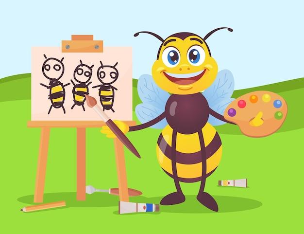 Glücklicher bienencharakter, der draußen honigbienen auf leinwand zeichnet. schwarzes und gelbes insekt, das pinsel und palette mit verschiedenen farben hält, hölzerne staffelei-karikaturillustration