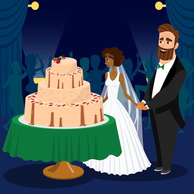 Glücklicher bräutigam und braut