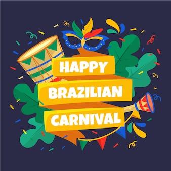 Glücklicher brasilianischer karneval des flachen entwurfs
