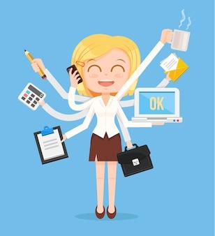 Glücklicher bürofrauencharakter. multitasking harte arbeit.