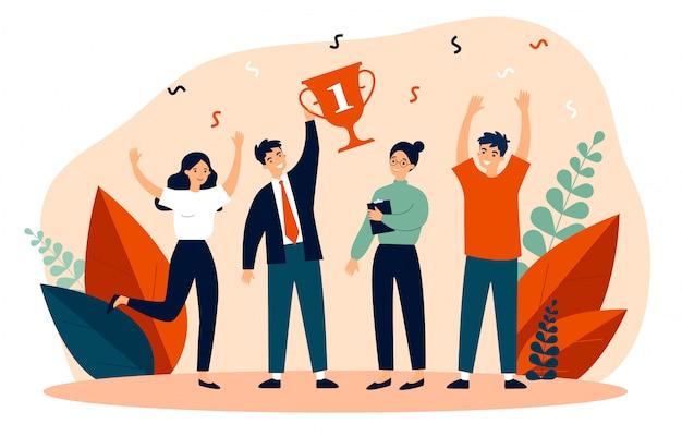 Glücklicher business-team-gewinnpreis