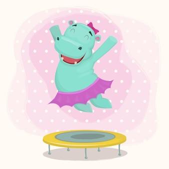 Glücklicher cartoon-flusspferd-mädchencharakter, der auf einem trampolin springt.