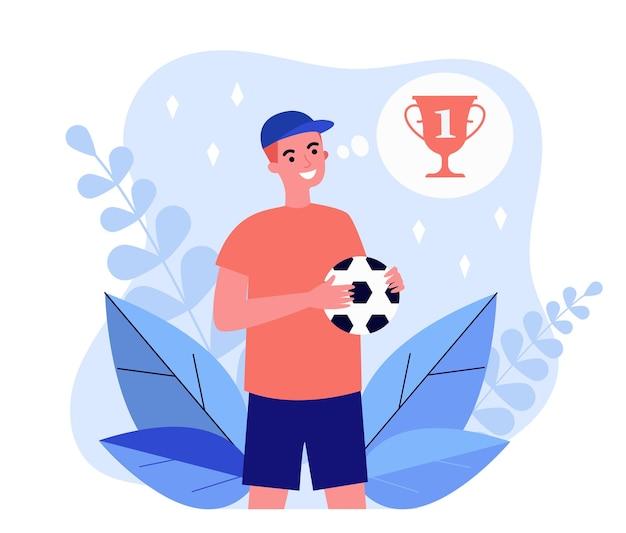 Glücklicher cartoon junger fußballer, der über preis denkt