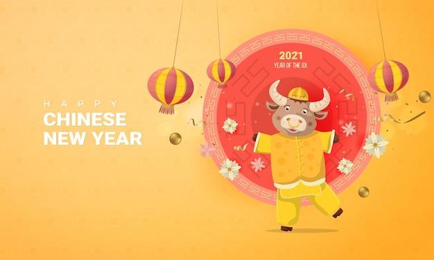 Glücklicher chinesischer mondneujahrstag 2021, jahr des ochsen
