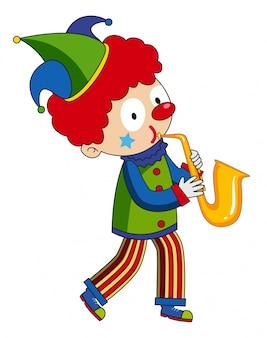 Glücklicher clown, der saxophon spielt