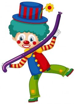 Glücklicher clown mit purpurrotem ballon auf weißem hintergrund