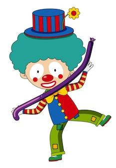 Glücklicher clown mit purpurrotem ballon