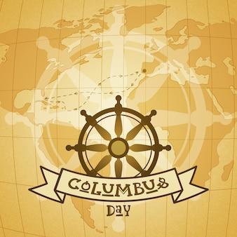 Glücklicher columbus day national usa-feiertags-gruß-karte mit lenkrad und anker über weltkarte