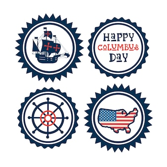 Glücklicher columbus day national usa-feiertags-gruß-karten-ikonen-satz lokalisiert