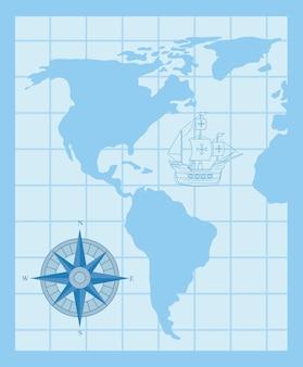 Glücklicher columbus-tag, mit kompass und schiff carabela auf kartenweltvektorillustrationsentwurf