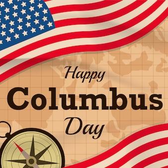Glücklicher columbus-tag mit usa-flagge auf kartenhintergrund oder -fahne