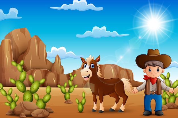 Glücklicher cowboy der karikatur mit pferd in der wüste