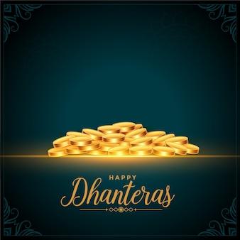Glücklicher dhanteras festival goldener münzenhintergrund