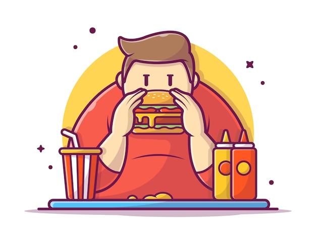 Glücklicher dicker mann, der hamburger mit soße, senf und soda hält und isst, illustration weiß isoliert
