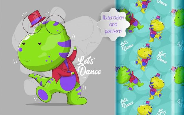 Glücklicher dino tanzt mit handgezeichnetem stil