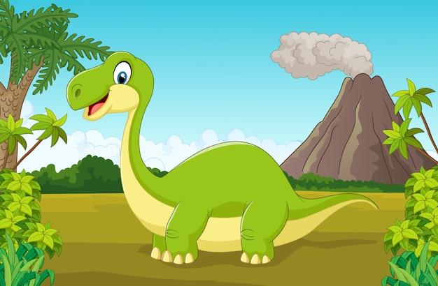 Glücklicher dinosaurier der karikatur im dschungel