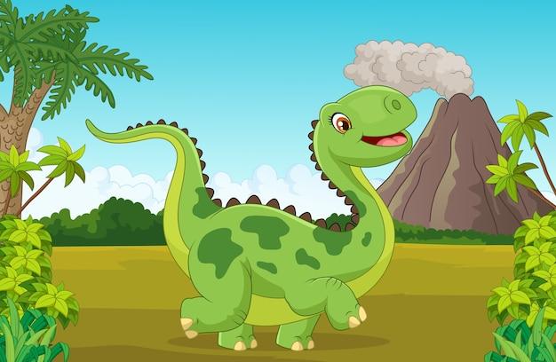Glücklicher dinosaurier der karikatur mit berg