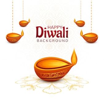 Glücklicher diwali dekorativer hängender diya hintergrund