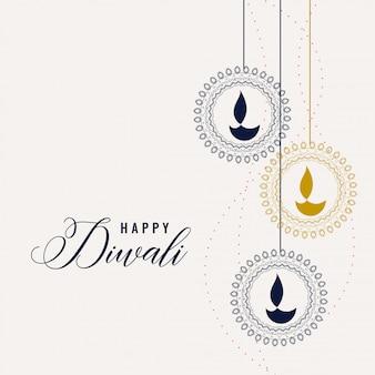 Glücklicher diwali dekorativer lampenhintergrund