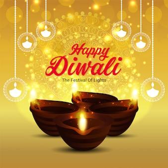 Glücklicher diwali designhintergrund mit diwali lampe und diya