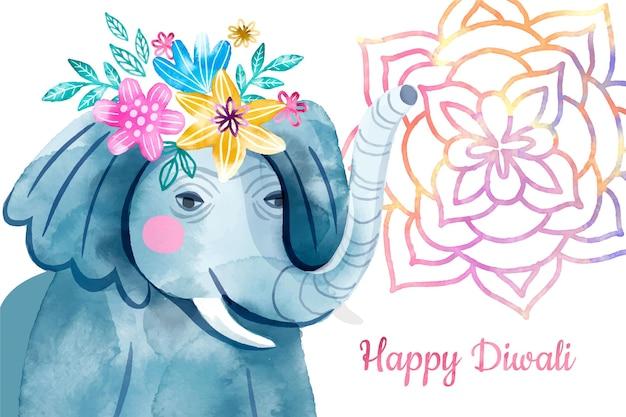 Glücklicher diwali-elefant des aquarells mit blumen auf kopf