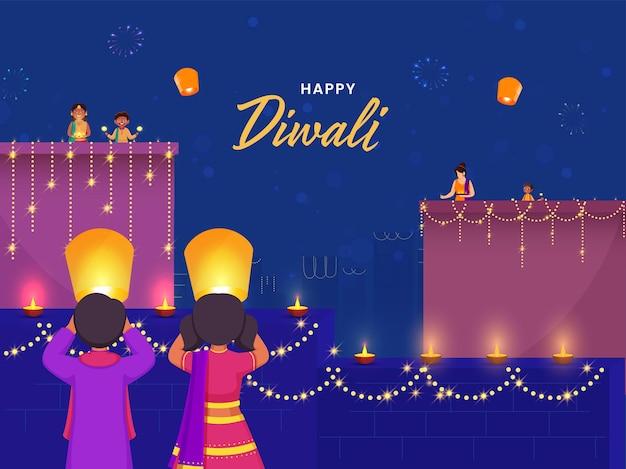 Glücklicher diwali-feier-hintergrund mit indischen leuten, die festival of lights genießen oder feiern.