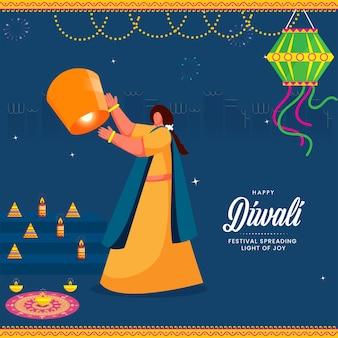Glücklicher diwali-feier-hintergrund mit indischer frau, die himmelslaterne fliegt.