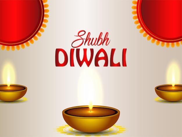 Glücklicher diwali-feierhintergrund mit diwali-diya auf kreativem hintergrund