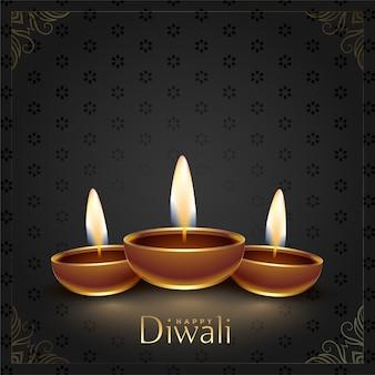 Glücklicher diwali festival diya dekorativer hintergrund
