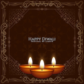 Glücklicher diwali festival stilvoller rahmen ethnisch