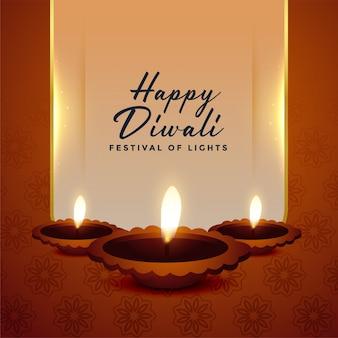 Glücklicher diwali festivalhintergrund mit drei diya