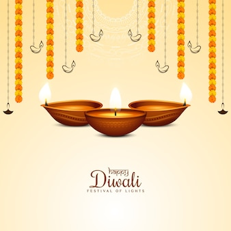 Glücklicher diwali festivalhintergrund mit stilvollen lampen