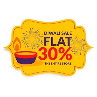 Glücklicher diwali-festivalverkauf in der flachen art