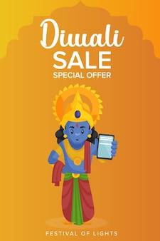 Glücklicher diwali-flieger und plakat mit gott rama, der telefon zeigt