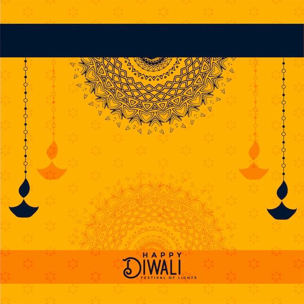 Glücklicher diwali gelber dekorativer hintergrund