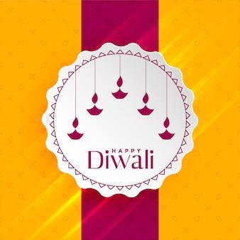 Glücklicher diwali gruß mit hängendem diya