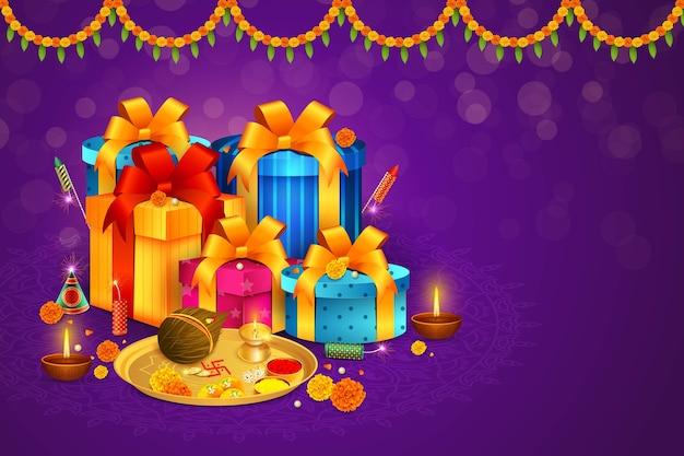 Glücklicher diwali hintergrund, bhai dooj geschenke, diya, aarti thali, dhanteras cracker, feierverkauf