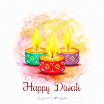 Glücklicher diwali hintergrund mit farbigen kerzen auf aquarelldesign