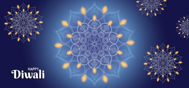 Glücklicher diwali-hintergrund mit feuer